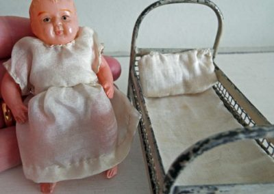 c1910-1920s Small Metal German Bed & c1930s Celluloid Child Doll (Unknown Make) @ £25.00