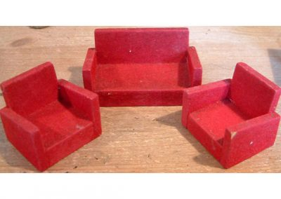 Late 50s/60s Barton Red Flocked Suite @ £7.50