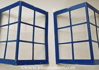 c1930s Corner Tri-ang Metal Windows Over Painted In Blue CURRENTLY TWO AVAILABLE