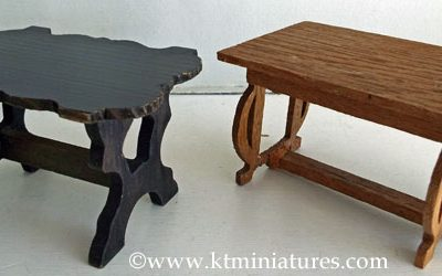 Pair Of Art Nouveau Wooden Tables (one damaged) @ £6.50