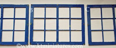 c1930s Smaller Tri-ang Metal Windows Over Painted In Blue CURRENTLY THREE AVAILABLE