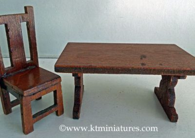 Vintage Wooden Dining Table & One Chair @ £7.50