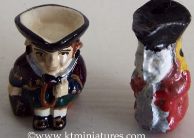 Reproduction Pair Of Painted Metal Toby Jugs @ £13.50