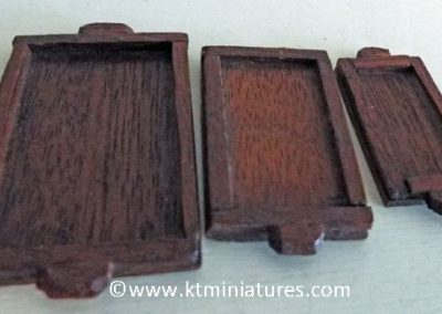 Vintage Set Of Three Different Size Wooden Trays (one missing handle) @ £8.95