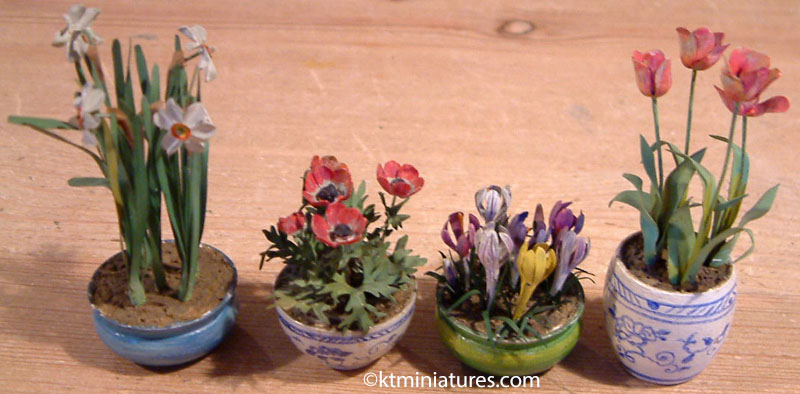 A Collection Of Four Antique Beatrice Hindley Plants